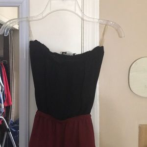 Open back black and red strapless dress used once